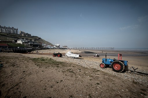 Beach, Pier, Sky, Tractor, Ocean, Travel, Sea, Tourism