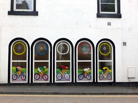 Wall, White, Building, Windows, Paintings, Cyclists