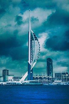 Portsmouth, Sea, Sea View, Coast, City, Port, Sky