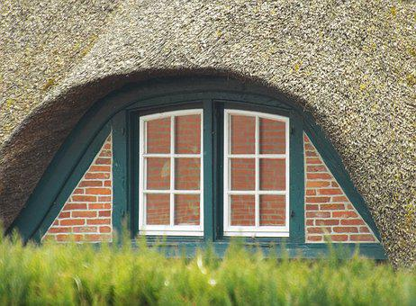 Outlook, Window, Old House, Reed Roof, By Looking