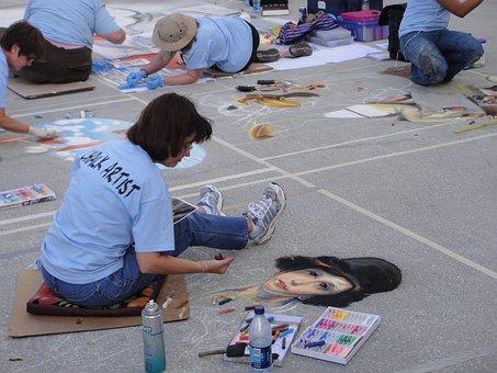 Artist, Chalk, Sidewalk, Orlando, Florida
