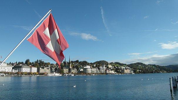 Lucerne, Lake Lucerne Region, Swiss Flag, Flag