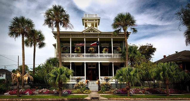 Ruhl House, Home, Galveston, Texas, Sky, Clouds