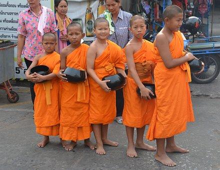 Monks, Children, Thailand, Asia, Buddhism, Culture