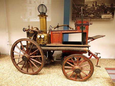 Engine, Steam, Fire, Transportation, Railroad, Vintage