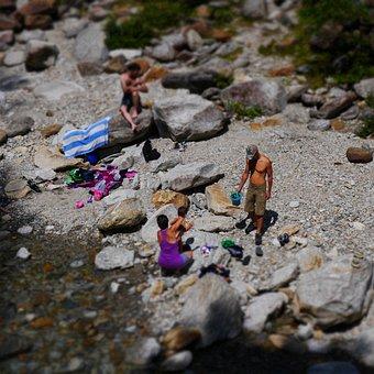 Ticino, Verzasca, River, Bach, Swim, Water, Tiltshift