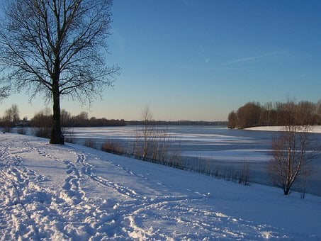 Winter, Snow, Footprints, White, Cold, Lake, Wintry