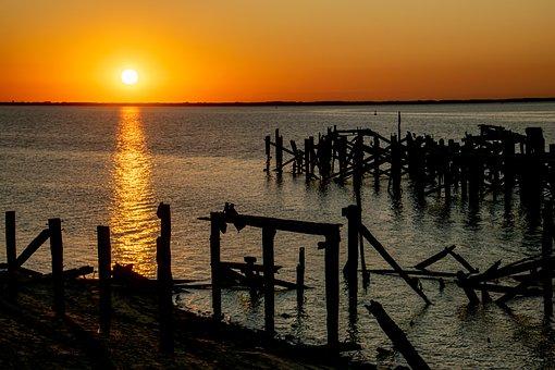 Sunset, Sea, Silhouette, Woods, Sun, Sunlight, Dusk