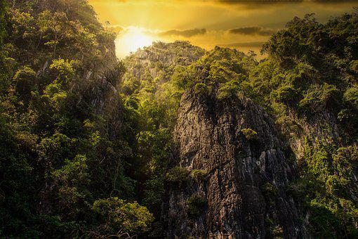 Background, Nature, Mountains, Sunset, Evening, Green