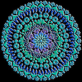 Mandala, Design, Floral, Pattern, Green, Blue