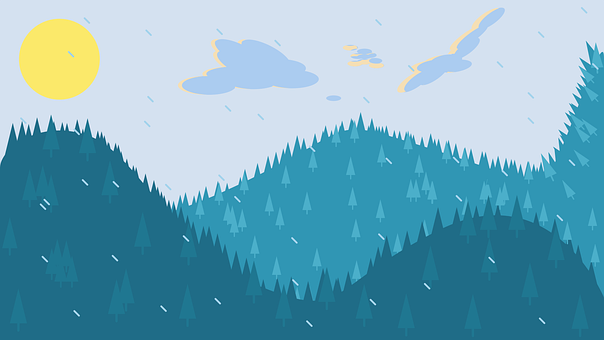 Mountains, Forest, Snowing, Raining, Weather, Landscape