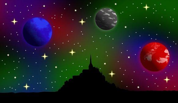 Space, Planets, Le Mont Saint Michel, Silhouette, Stars