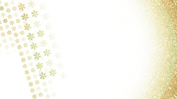 Flowers, Floral Background, Copy Space, Gold And White