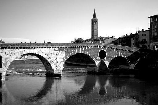 Verona, Bridge, River, Black And White, Landmark