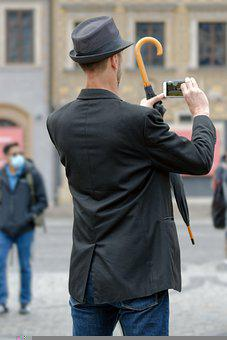 Man, Taking Photos, Smartphone, Male, Tall, Tourist