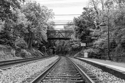 Railway, Train Station, Black And White