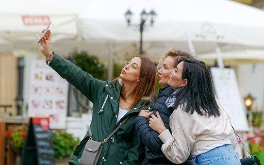 Girls, Selfie, Smartphone, People, Women, Pose, Happy