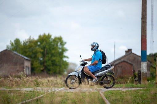 Motorcycle, Railway, Crossing, Travel, Transport