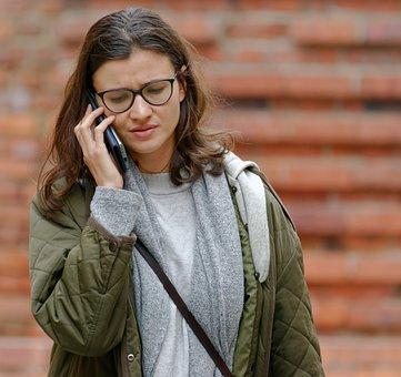 Woman, Phone Call, Portrait, Girl, Eyeglasses