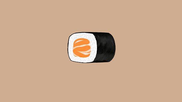 Sushi, Japanese Food, Dish, Salmon, Rice, Food, Snack
