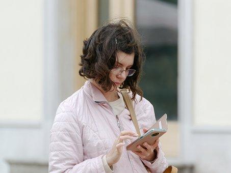 Woman, Smartphone, Typing, Girl, Pretty, Eyeglasses