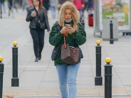 Woman, Walking, Street, Smartphone, Purse, Jeans, Girl