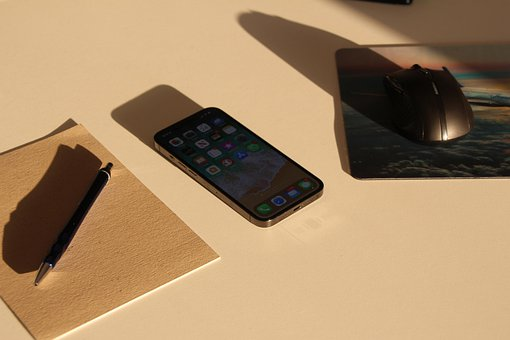 Smartphone, Office Desk, Workspace, Notebook, Apple