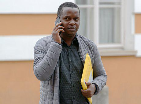 Man, Phone Call, Documents, Portrait, African