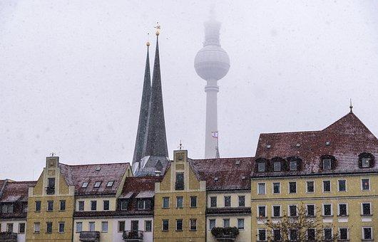 Nikolaiviertel, Berlin, Winter, City, Snowfall, Snow