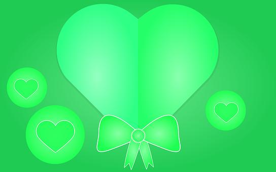 Hearts, Green, Background, Decorative, Ribbon, Bow