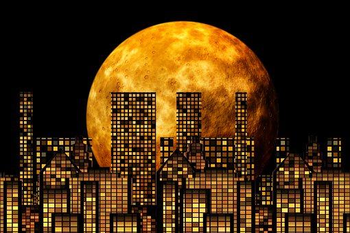 Moon, Skyscraper, Skyline, Full Moon, Night