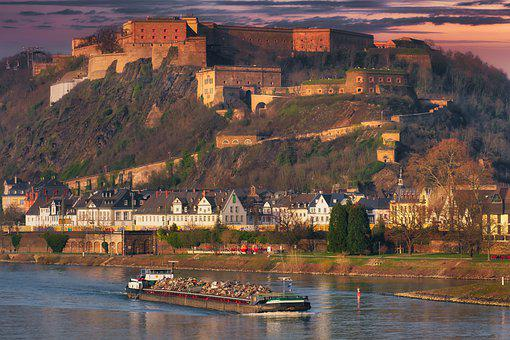 Fortress, Building, Castle, Rhine, Ship, Sunset