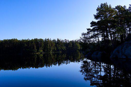 Lake, Mountain, Forest, Nature, Landscape, Sweden
