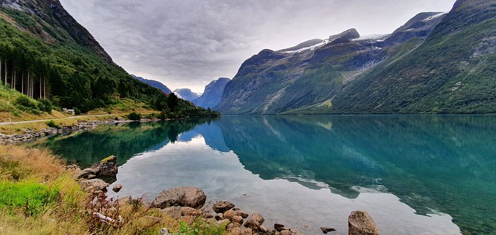 Norway, Lake, Mountains, Landscape, Nature, Forest