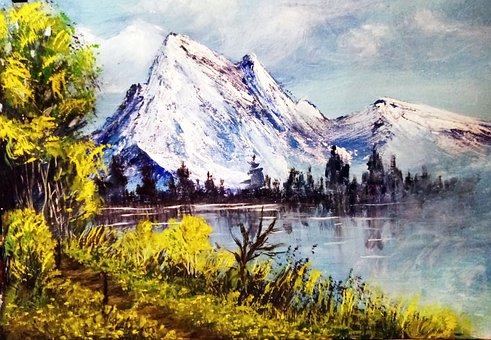 Mountains, Lake, Oil Painting, Nature, Snow, Forest