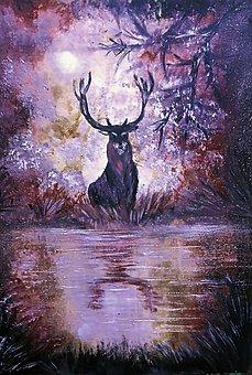 Deer, Lake, Painting, Acrylic, Animal, Wildlife