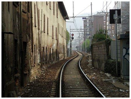 Railway, Train Track, City, Urban, Rails, Reise, Como