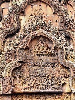 Cambodia, Angkor, Temple, Bantay Krei, Ruin, Bas-relief