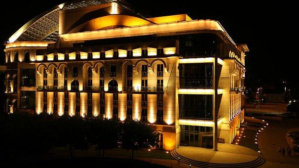 Színhaz, Lights, Budapest, National Theatre, At Night