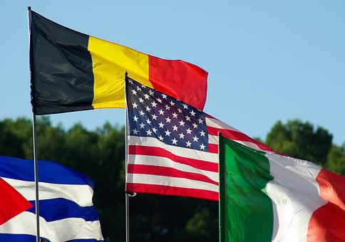 Flags, Belgian Flag, Irish Flag, American Flag