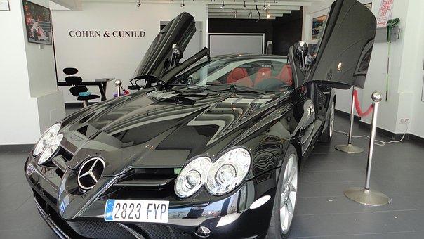 Mercedes, Benz, Brand, Auto, Sls, Black, Spain, Doors