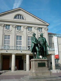 Goethe, Schiller, Monument, Double Statue, Bronze