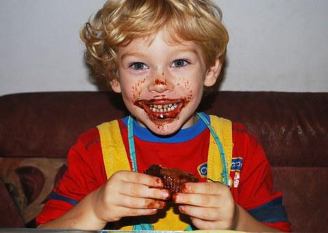 Boy, Eating, Chocolate, Muffin, Smiling, Dirty, Brown