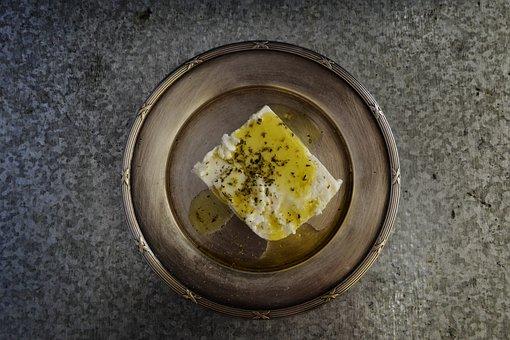Feta, Cheese, Olive Oil, Olive, Oregano, Plate