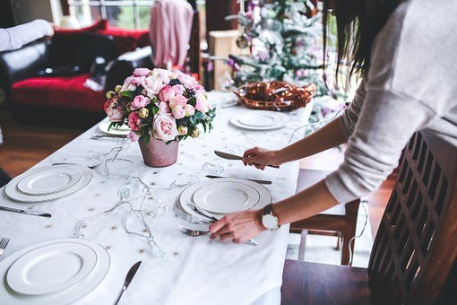 Table, Preparing, Set, Christmas, Holidays, Woman, Girl