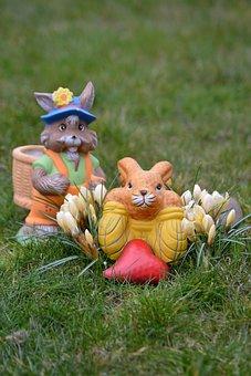 Easter, Deco, Easter Bunny, Ceramic, Figures