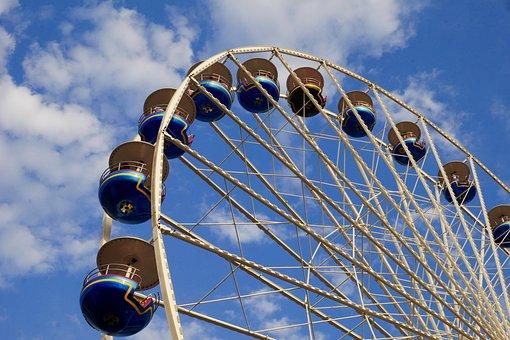 Ferris Wheel, View, Funfair, Fun, Clouds, Fear