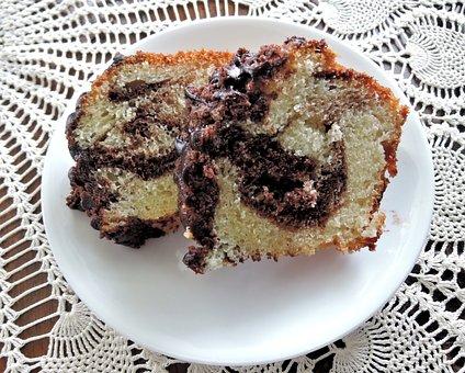 Marble Bundt Cake, White, Chocolate, Sweet, Baked, Food