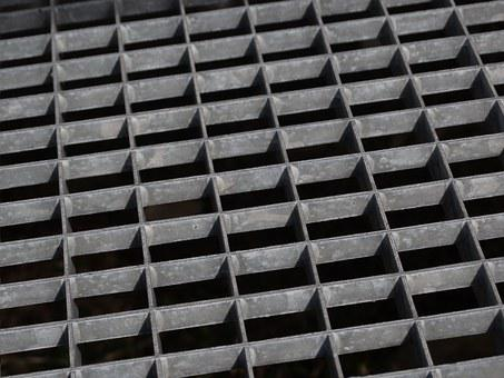 Grating, Metal Construction, Zinc Plated, Grey