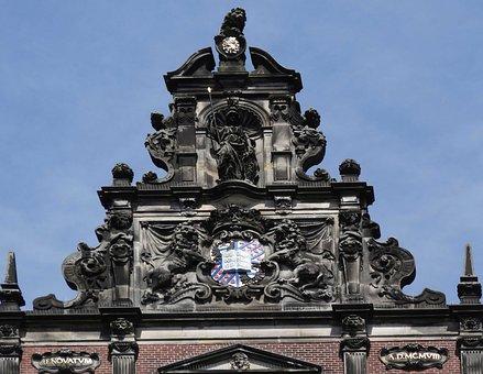 Academiegebouw, Groningen, Building, Pediment, Gable